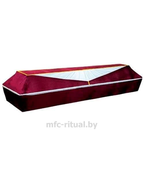 Гроб обитый бордовым велюром
