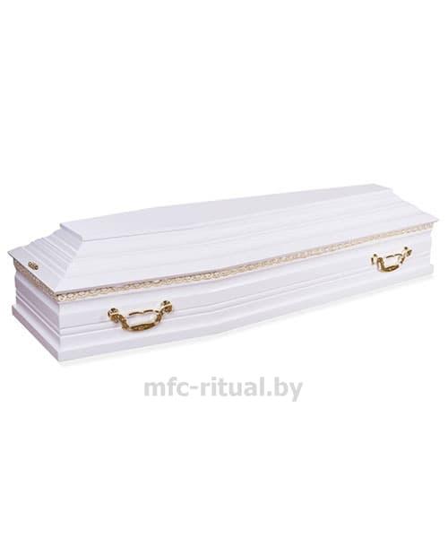 Гроб белый лакированный 6 граней