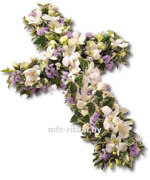 Венок из живых цветов «Крест-орхидея»